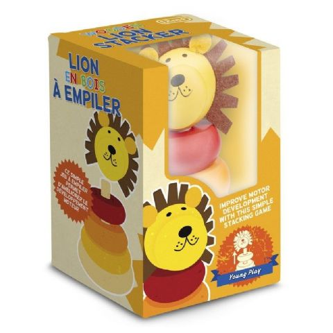 Lion Stacker - Wooden Traditional Stacking Ring Toy (Age 12 Months Plus)